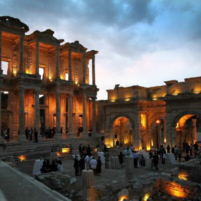 Turkey Ephesus Celsus Library at night Credit David Mark Pixabay